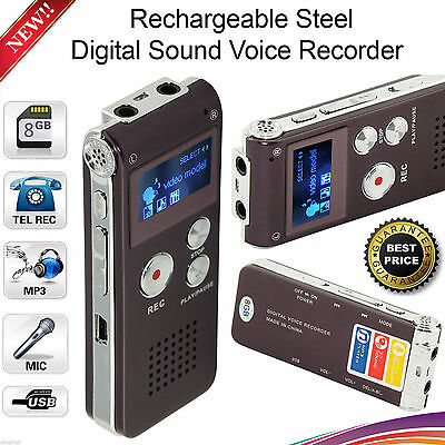 Digital Voice Sound Recorder Dictaphone MP3 Player Record 8GB Steel Rechargeable
