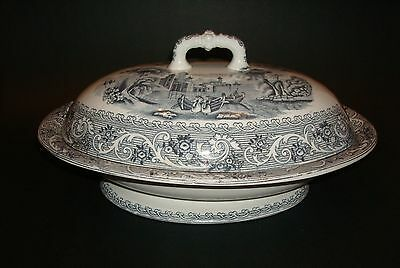 Rhine Pattern Gray Transfer Covered Vegetable Dish J. F. Wileman Foley Potteries