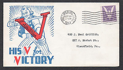 """**US WWII Patriotic Cover, Philipsburg, KS 10/29/1943 """"V"""" is for Victory Cachet"""