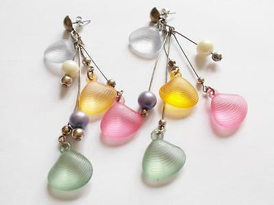 Vintage 1960's Colourful Lucite Oyster Shell Shaped Beaded Tassel Earrings