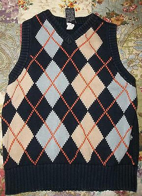 GAP Navy blue with beige orange blue ARGYLE Cotton Knit sweater VEST Boys S 6
