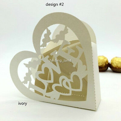 IVORY Wedding Favours Sweets Cake Candy Gift Boxes - 16 designs 12-25-50-100pcs