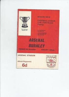 Arsenal Home v Burnley League Cup Football Programme 1967/68