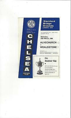 Alvechurch v Wealdstone Amateur Cup Semi Final Football Programme 1966 @ Chelsea