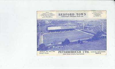 Bedford Town v Peterborough United Hunts Premier Cup Semi Final Programme 1966