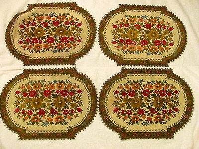 Vintage 4 pc Matching Belgium Needlepoint Floral Place Mat, Table Dresser Linens