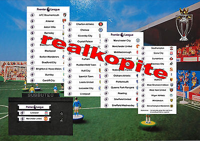 Premier League Team Card for Subbuteo Scoreboard