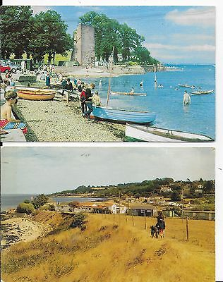 RARE  POSTCARD x 2  THE SHORE,ST HELEN AND GURNARD,ISLE OF WIGHT,RP,1964/84