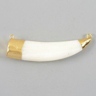 Horn White Shell Connector Gold Plated H82568