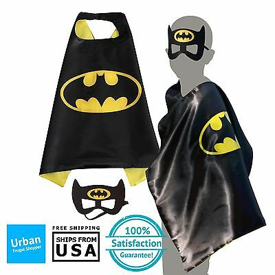 Kids Superhero Batman Cape & Mask Costume Set For Birthday and Party Favors