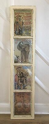 Very Unusual, Wooden, Distressed, Shabby Chic Wall Circus Panel/ Plaque
