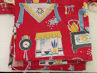 Vintage 4 pieces of feedsack red print household items fabric sewing quilting