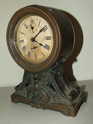 Antique Working 1800's Seth Thomas Victorian Bottom Bell Mechanical Alarm Clock