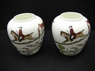 Crown Staffordshire England Hunting Scene Bulbous Shape Bud Vases / Set of 2