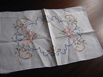 "Vintage hand-embroidered English Linen Tray cloth - Approx. 19 "" x 12"""