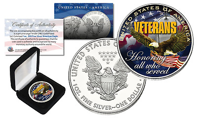 VETERANS United States 1 oz .999 SILVER AMERICAN US SILVER EAGLE with BOX & COA