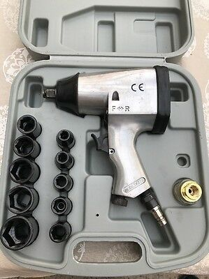 """Air Impact Wrench 1/2"""" Pneumatic Gun in Carry Case with Sockets"""