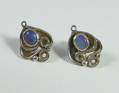 Silver Art Nouveau style earrings with Opal? fully hallmarked Edinburgh SMS