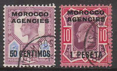 Morocco Agencies 1907#119 #120 Used Edv11 Stamps