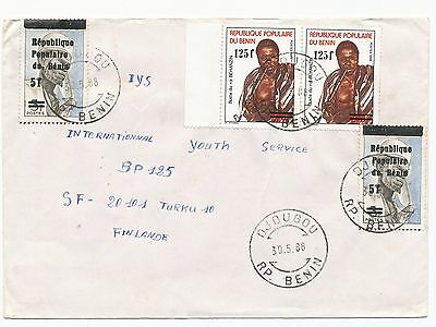 Benin 1988 overprinted 2 & value overprinted 2 stamp on cover to Finland