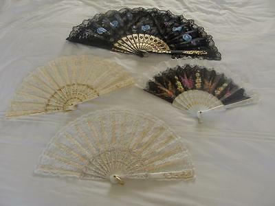 Lot Of 4 Pretty Lace Decorated Fans