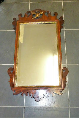 George III Style Fretwork Mahogany & Gilt Wall Mirror - Early C20th (Antique)