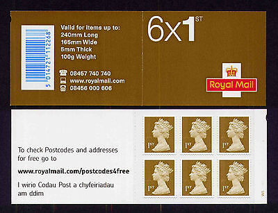 2010 ROYAL MAIL MB8c 6x1st MA10 MSIL CYLINDER W5 pW1 W1 SELF ADHESIVE BOOKLET