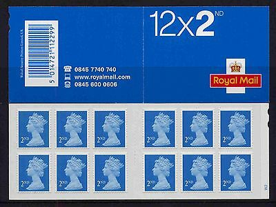 2004 ME4 ROYAL MAIL 12x2ND CYLINDER W2 pW1 SELF ADHESIVE BOOKLET