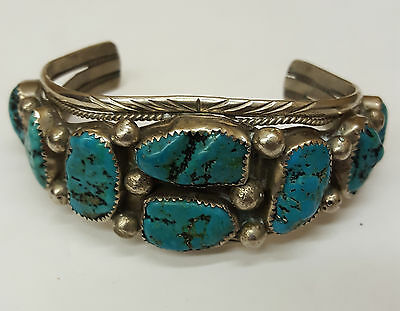 Nice Old Vintage Silver 8 Blue Green Turquoise Native American Indian Cuff
