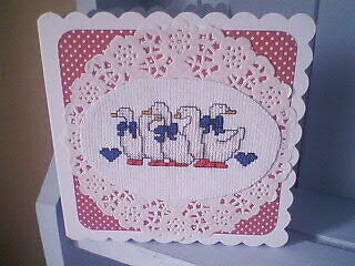 Completed Cross Stitch Card.Geese.Birthday.Get Well.Thanks.