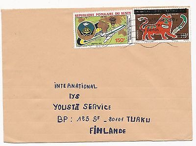 Benin 1986 overprinted coat of arms stamp on cover to Finland