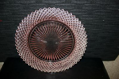 'Miss America' Anchor Hocking Pink Depression Glass Plate & art deco handle
