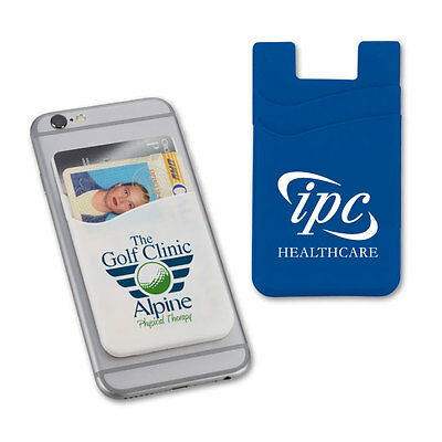 SILICONE PHONE WALLETS, 2 POCKETS - 125 quantity - Custom Printed with Your Logo