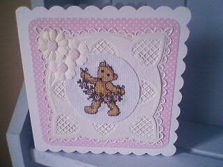Completed Cross Stitch Card.Teddy.Birthday.Get Well.Thanks.