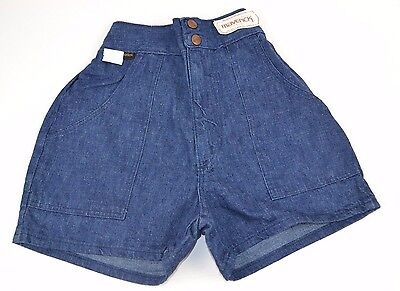 Vtg 1970's Denim HIGH WAIST Short SHORTS Double Snap Elastic Back BLUE 9/10 NOS