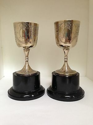 Two Perfect Match Silver Plate Vintage Classic Trophy Cups Not Engraved
