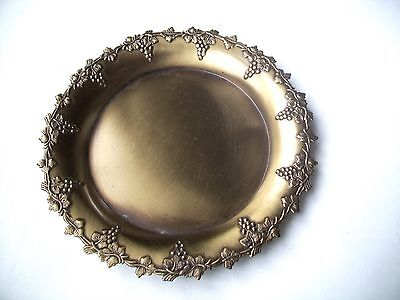 Vintage Antique Finish Brass Desktop Tray Dish Ashtray-Bunches of GRAPES DESIGN