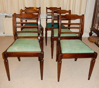 Vintage Regency Style Set of 6 Mahogany Dining Chairs