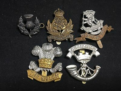 #6 Vintage Army WWII WWI MILITARY CAP BADGE LOT X 5 INTELLIGENCE CORPS War Metal