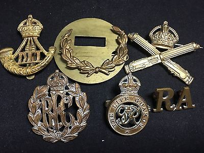 #9 Vintage Army WWII WWI MILITARY CAP BADGE LOT X 6 Artillery LIFE GUARDS Metal