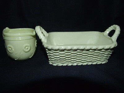 Sowerby Ivory Queens Ware Uranium Glass Butter Base & Creamer