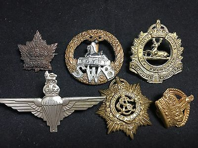 #11 Vintage Army WWII WWI MILITARY CAP BADGE LOT X 6 Egypt SWB PARAS Metal