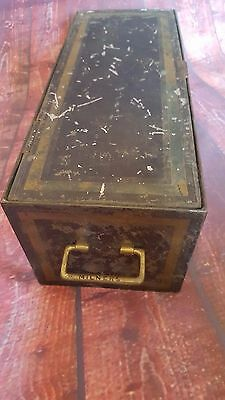 Vintage Metal Milner Deed Document Box Storage Display Money Box Handles