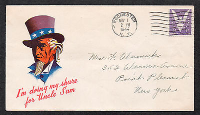 """**US WWII Patriotic Cover, Rochester, NY 11/1/1944 """"Uncle Sam"""" Cachet"""