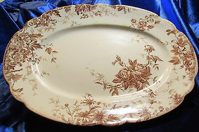 1906-12 S Hancock & Sons Brown Transferware Glen / Roses Semi Porcelain Platter