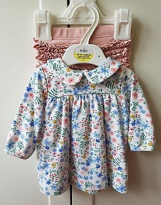 M&S Baby Long Sleeved Floral Top & Baby Pink Leggings 0-1 Month