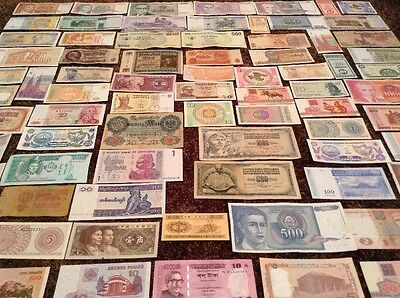 World Banknote Collection. 76 Pcs. Every Note Different.
