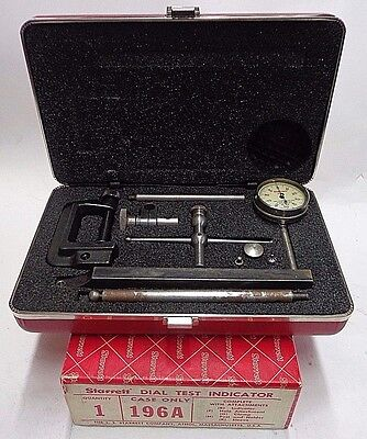 Starrett No.196A Universal Back Plunger Dial Test Indicator Complete Set .001