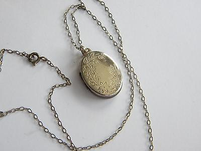 vintage small Sterling SILVER LOCKET ~ necklace silver 925 ~