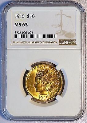 1915 $10 US Indian Head Gold Eagle Coin (NGC MS 63 MS63) LUSTER (06039)
